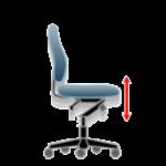 Tiltinis kėdės mechanizmas su priekinės ašies svyravimu. Kėdės aukščio reguliavimas. Standartinė biuro kėdės reguliavimo funkcija.